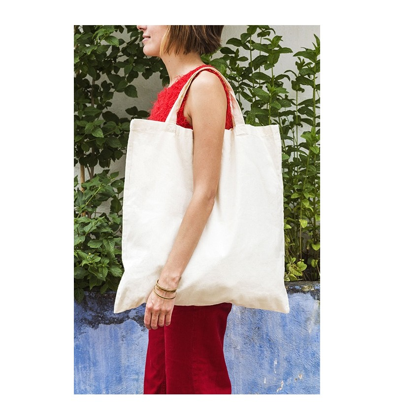 Bolsa cuadrada de algodón con asas cortas 50x50 cm.