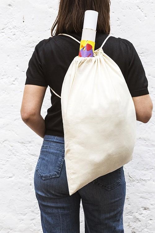 Mochila de algodón sin fondo con cordón simple 40x54 cm.