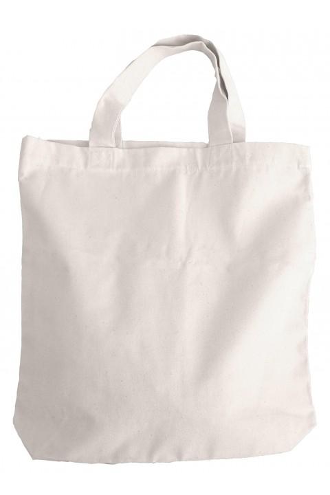 Bolsa gruesa de loneta con base de 10cm y asas cortas 42x42+10 cm.