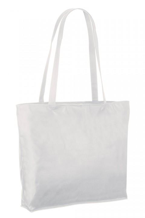 Bolsa de no-tejido con base, cremallera y bolsillo 48x36+10 cm.