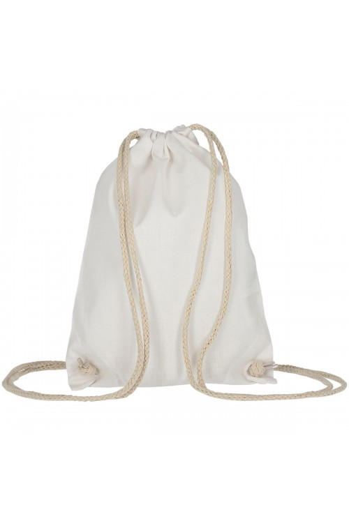 Mochila de algodón sin fondo con cordón doble 21x29 cm.