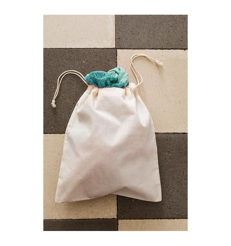 Saco de algodón orgánico con cordón doble 25x30 cm.