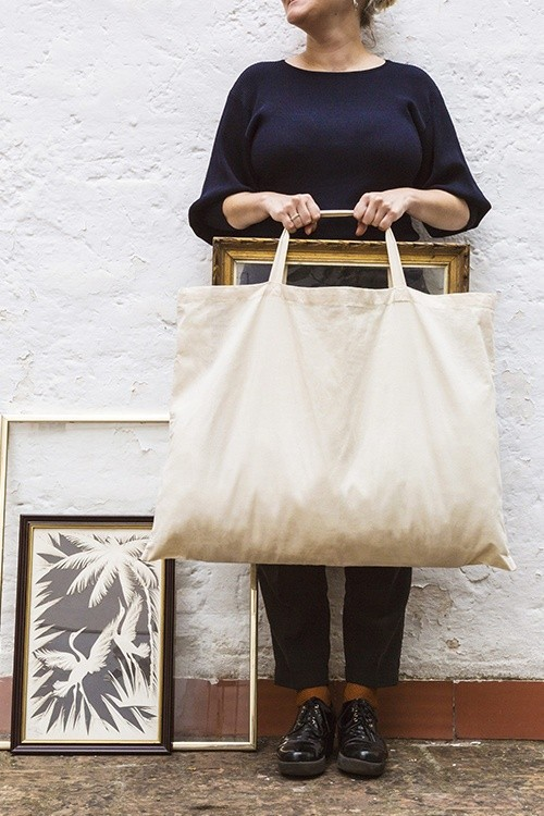 Big Bag Bolsa de algodón con asas cortas 70x50 cm.