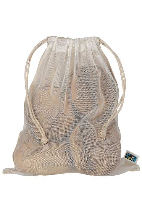 Cotton rucksack with double cords and PET mesh 25x30 cm