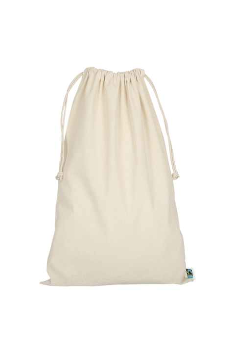 Pochon en coton bio avec double cordon 10x14 cm.