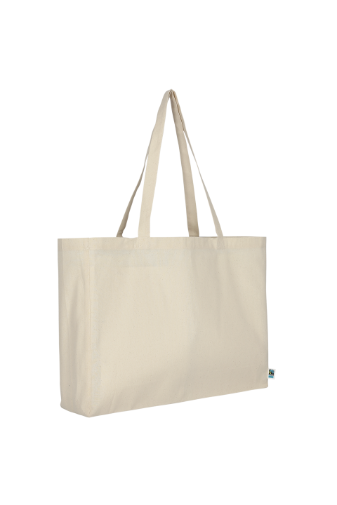 Fair trade cotton bag with 12 cm bottom gusset and long handles 48x36 cm.